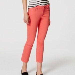 Loft Salmon Pink Curvy kick Crop Jeans
